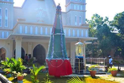 christmas tree and church