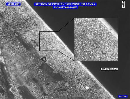 "This April 2009 image released by the State Department shows the civilian ""safe zone"" in northern Sri Lanka, the heart of the conflict between the Tamil Tigers and the Sri Lankan forces, after the civilians, estimated by the United States to be more than 100,000, were herded on to the beach. REUTERS/US National Imagery Systems/Handout"