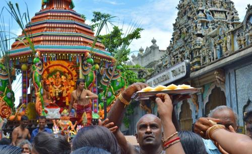 An Aadi Vel Festival parade outside the Kathiresan Kovil Hindu temple-Ronan O'Connell